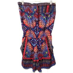 ANGIE Abstract Multi Jewel Color Strapless Romper